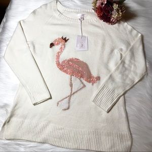 Lauren Conrad Sequin Flamingo Tunic Sweater Sz M